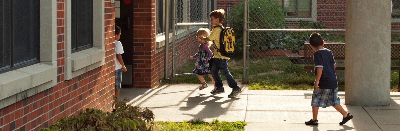 Monroe Elementary School Students Arriving at School